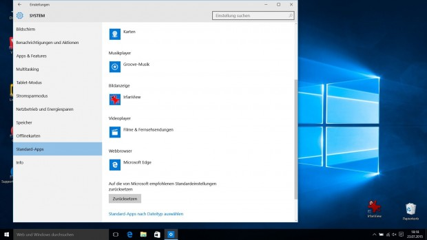 Option in den Windows-10-Einstellungen zum Festlegen der Standard-Programme (Screenshot Golem.de)