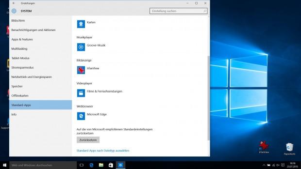 Option in den Windows-10-Einstellungen zum Festlegen der Standard-Programme (Screenshot Golem.de)