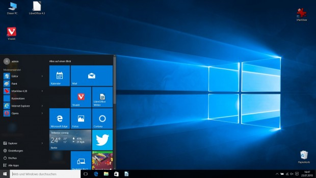 Windows 10 mit geöffnetem Startmenü (Screenshot: Golem.de)