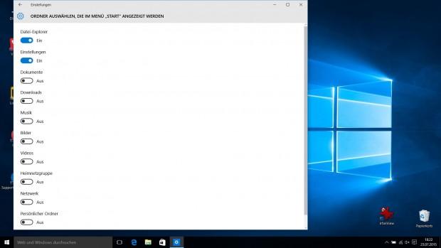 Im linken Bereich des Startmenüs lassen sich zusätzliche Einträge einblenden. (Screenshot: Golem.de)