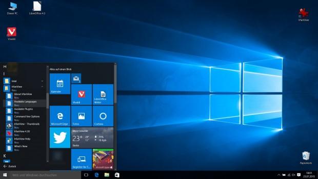 Wenn sich Programme mit Verknüpfungen im Startmenü ablegen, fehlen die Icons in der Hauptebene. (Screenshot: Golem.de)