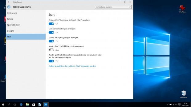 Der linke Bereich des Startmenüs wird über die Einstellungen konfiguriert. Nur darüber kann bei Bedarf ein Vollbildmodus aktiviert werden. (Screenshot: Golem.de)