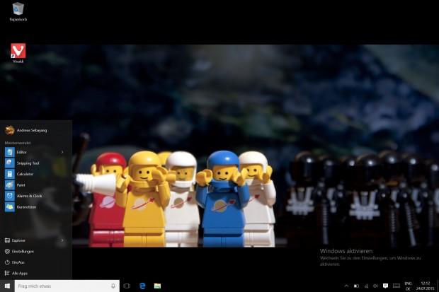 Das Startmenü von Windows 10 kann auch ganz ohne Kacheln verwendet werden. (Screenshot: Golem.de)