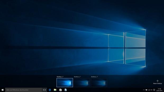 Die Übersicht drei virtueller Desktops ohne laufende Programme (Screenshot: Golem.de)