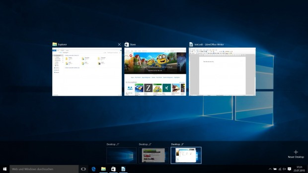 Drei virtuelle Desktops mit laufenden Programmen (Screenshot: Golem.de)