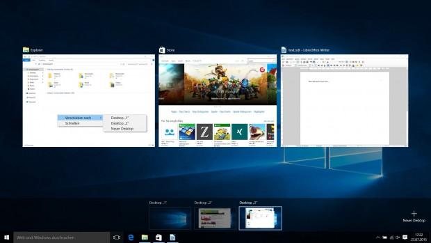 Außer mit der Maus können Programme über ein Kontextmenü in einen anderen virtuellen Desktop verschoben werden. (Screenshot: Golem.de)