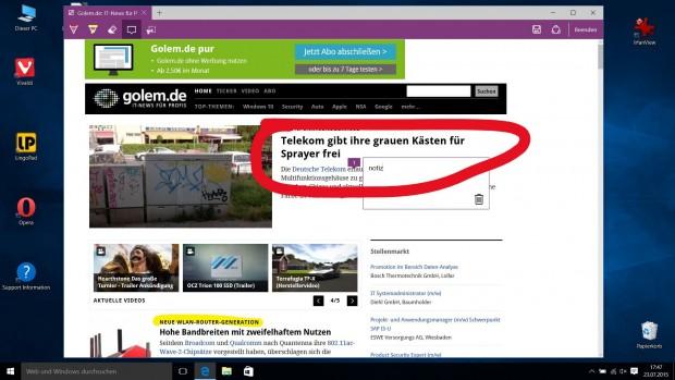 Nutzer können im Edge Browser Webseiten mit Anmerkungen versehen, diese lokal speichern oder weiterleiten. (Screenshot: Golem.de)
