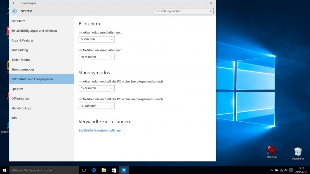 Bereich Energie in den Windows-10-Einstellungen (Screenshot: Golem.de)