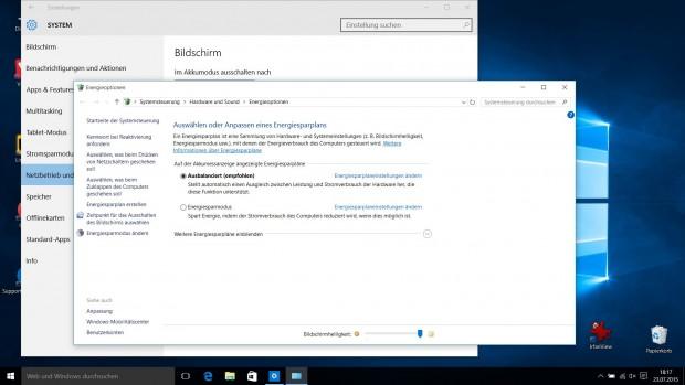 Aus den Energie-Einstellungen wird beim Klick auf zusätzliche Einstellungen ein alter Windows-Dialog geöffnet. (Screenshot: Golem.de)