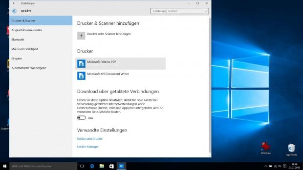 PDF-Druckertreiber ist Bestandteil von Windows 10. (Screenshot: Golem.de)
