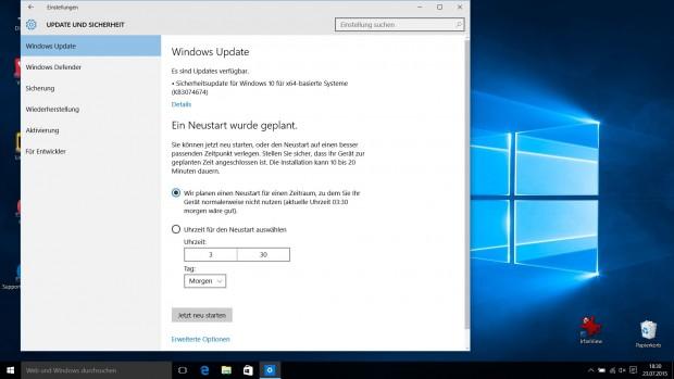 Updates in den Windows-10-Einstellungen (Screenshot: Golem.de)