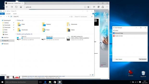 Miniansicht des neuen Taskmanagers (Screenshot: Golem.de)