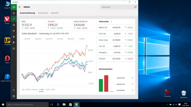 Finanzen-App in Windows 10 (Screenshot: Golem.de)