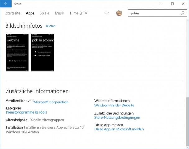Der neue Windows Store erlaubt die Parallelinstallation von Windows-10-Apps nur noch auf zehn Geräten. (Screenshot: Golem.de)