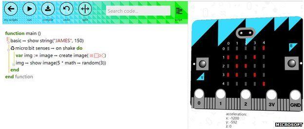 BBC Micro Bit: Finaler Entwurf des britischen Schulbastelrechners - Ein Ausblick auf die webbasierte IDE namens Touchdevelop von Microsoft (Bild: BBC)