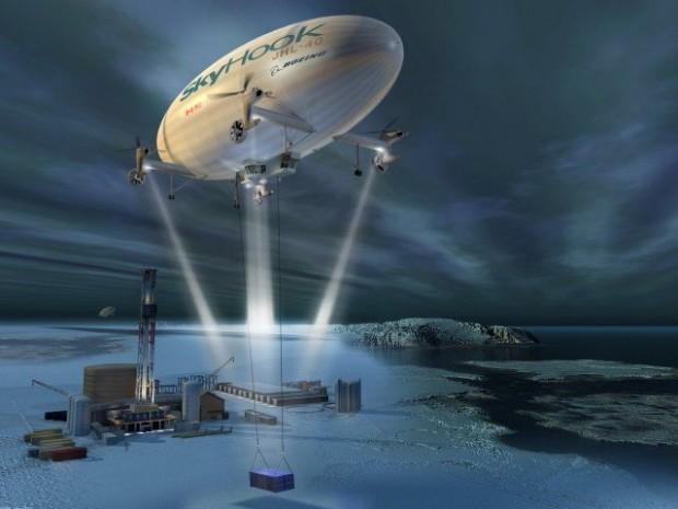 Konzept des Transportluftschiffs Skyhook (Bild: Boeing)