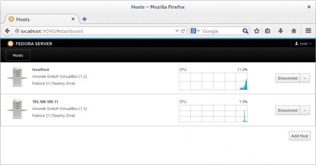 Während Cockpit 0.27 die angemeldeten Hosts direkt auf der Startseite präsentiert... (Bild: Screenshot Linux Magazin)