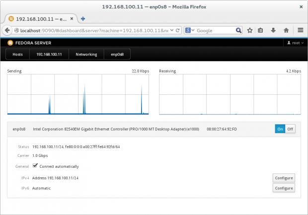 Über den Button »Configure« (hier unter dem älteren Cockpit 0.27) lassen sich DNS-Server und Routing einrichten. (Bild: Screenshot Linux Magazin)