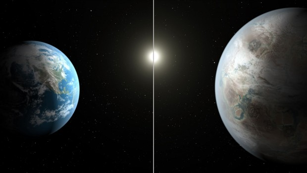 Kepler-452b ist eine Supererde. Er ist gut anderthalb mal so groß wie unser Planet. (Bild: Nasa/JPL-Caltech/T. Pyle)