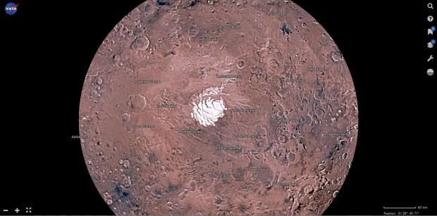 Die Marskarte Mars Trek der Nasa zeigt in 2D - hier die Südpolansicht. (Bild: Nasa/Screenshot: Golem.de)