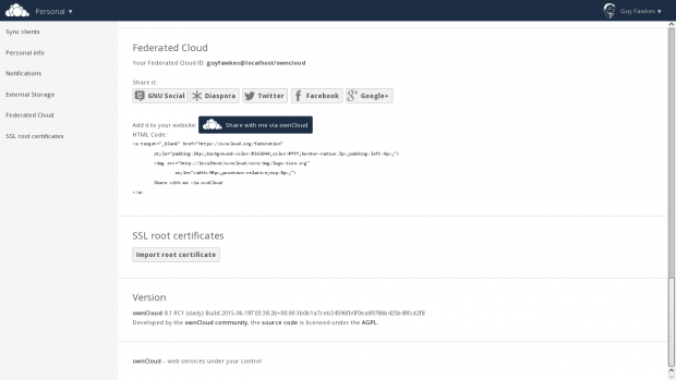 Die Federated Cloud ID findet sich nun in den Einstellungen. (Bild: Owncloud - CC-BY 4.0)