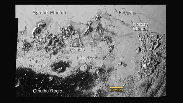 Die Oberfläche des Pluto hat verschiedene Landschaftsformen. (Bild: Nasa/JHUAPL/SwRI)