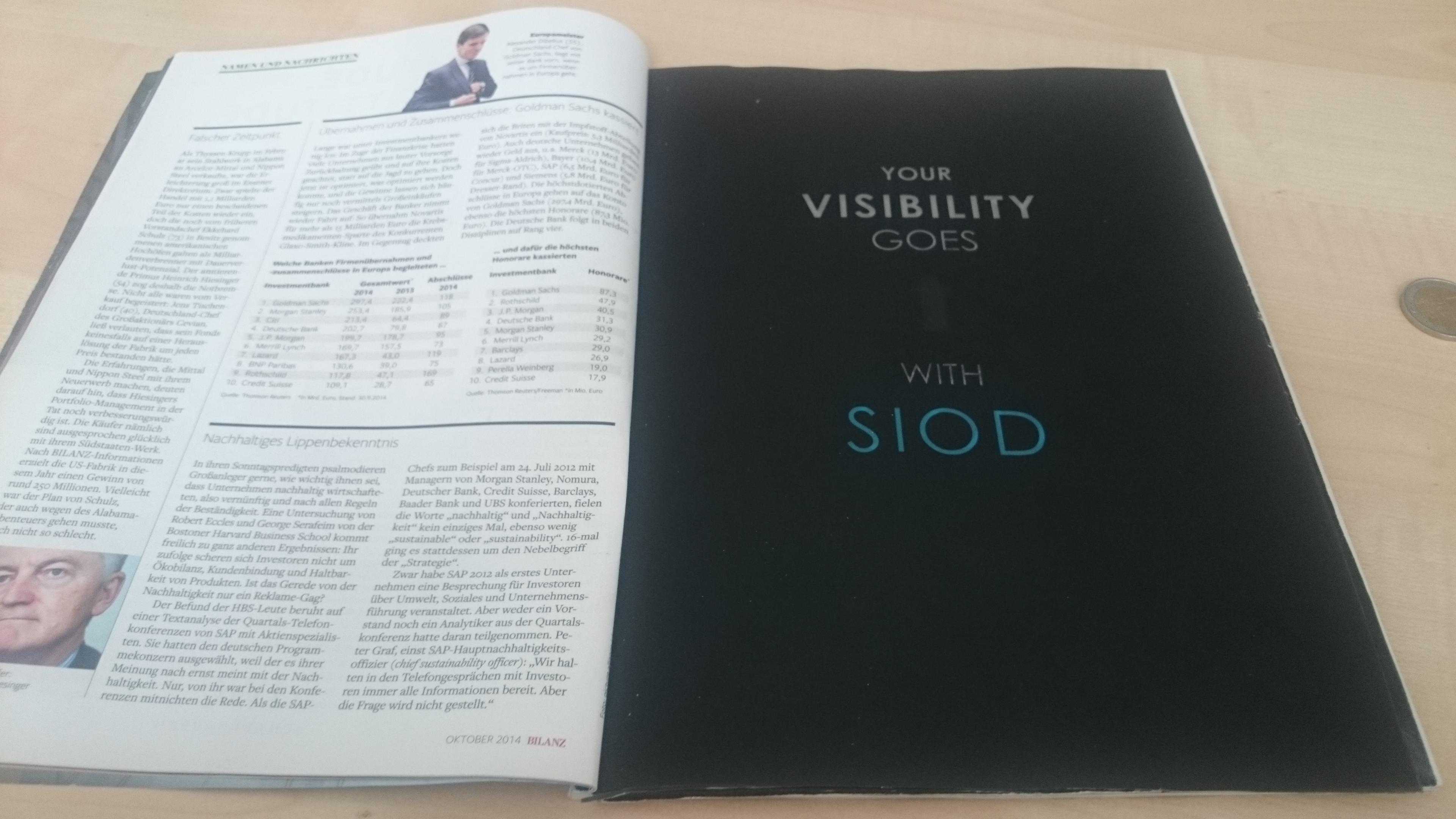 SIOD: Wenn die Anzeige auch in der Zeitung blinkt - Auf den ersten Blick eine normale Werbeanzeige (Foto: SIOD)