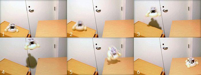 Robotik: 3D-gedruckter Roboter springt im Explosionsschritt - Der Sprungroboter im Einsatz. (Bild: UCSD)