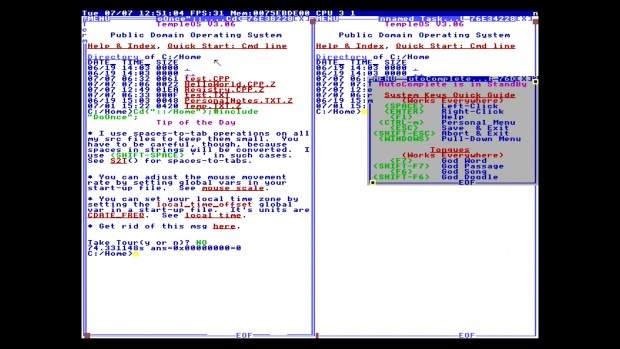 So wird der Anwender von TempleOS begrüßt. Alle Terminalfenster sind frei verschiebbar. (Bild: Martin Wolf/Golem.de)