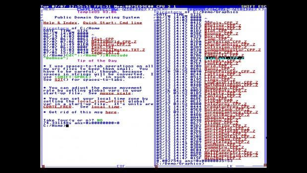 TempleOS unterstützt Hypertext an vielen Stellen. Ein Klick auf eine Datei im Verzeichnislisting ... (Bild: Martin Wolf/Golem.de)