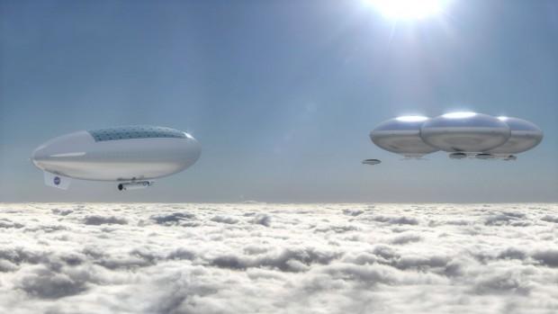 Luftschiff und schwebende Stadt in den Wolken: So könnte eine Venus-Mission der Nasa aussehen. (Bild: Nasa/ Langley Research Center)