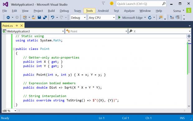 VS2015 unterstützt C# 6.0 (Quelle: Microsoft)