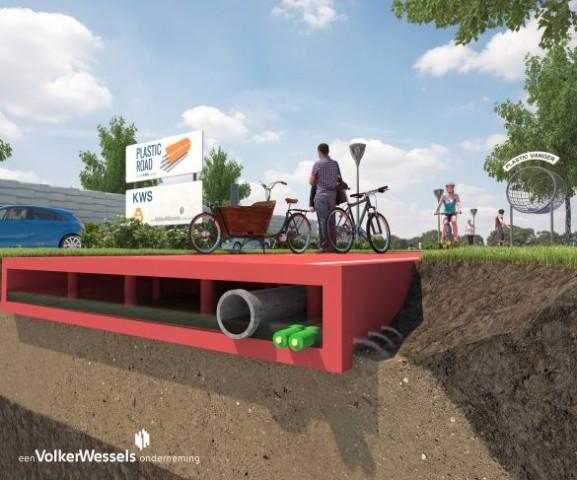 Straßen aus Kunststoff statt aus Asphalt will das niederländische Bauunternehmen Volker Wessels bauen. (Bild: Volker Wessels)