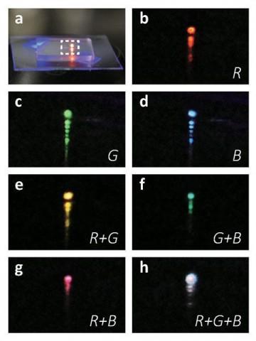 Der Laser deckt das ganze Spektrum sichtbarer Farben ab. (Foto: ASU/Nature Nanotechnology)