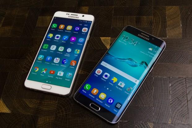 Das neue Galaxy Note 5 auf der linken Seite, das neue Galaxy S6 Edge+ auf der rechten Seite (Bild: Tobias Költzsch/Golem.de)