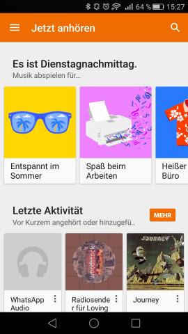 Im Hauptbildschirm von Play Music sind Vorschläge für Aktivitäten zu sehen, die zu den neuen Playlisten führen. (Screenshot: Golem.de)