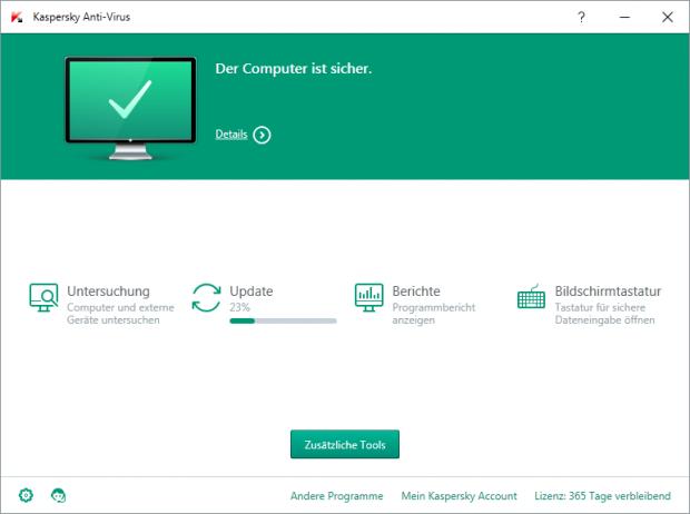 Kaspersky Internet Security 2016 - Datenbanken werden aktualisiert. (Bild: Kaspersky Lab)