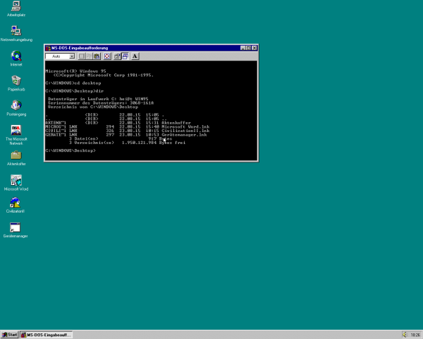Der MS-DOS-Unterbau blieb in Windows 95 erhalten, auch um ... (Screenshot: Golem.de)
