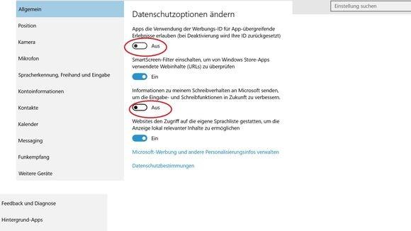 In den allgemeinen Datenschutz-Einstellungen lässt sich unter anderem die Verwendung der Werbungs-ID stoppen. (Screenshot: Zeit Online)