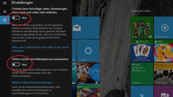 Einstellungen in Cortana: Wer alles deaktiviert, hat von der virtuellen Assistentin nicht mehr viel. (Screenshot: Zeit Online)