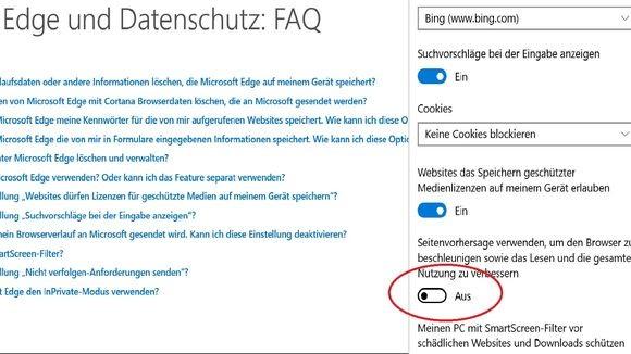 Erweiterte Einstellungen im Edge-Browser: Ganz am Ende finden sich noch wichtige Optionen. (Screenshot: Zeit Online)