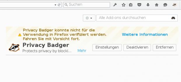 Hinweis auf ein unsigniertes Addon im Browser ... (Screenshot: Golem.de)