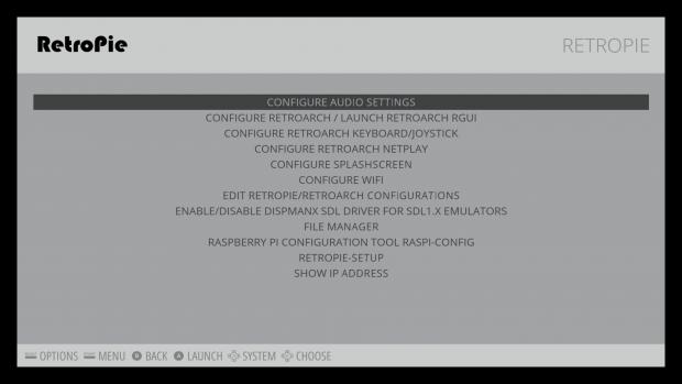 Das Retropie-Menü verweist auf vielfältige Konfigurationsmöglichkeiten. (Screenshot: Alexander Merz/Golem.de)