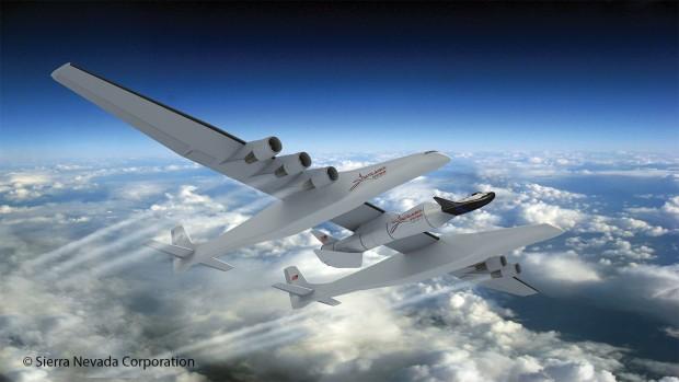 Vom Stratolaunch Carrier soll der Raumtransporter Dream Chaser mit Astronauten zur ISS starten. (Bild: Sierra Nevada Corporation)<br>
