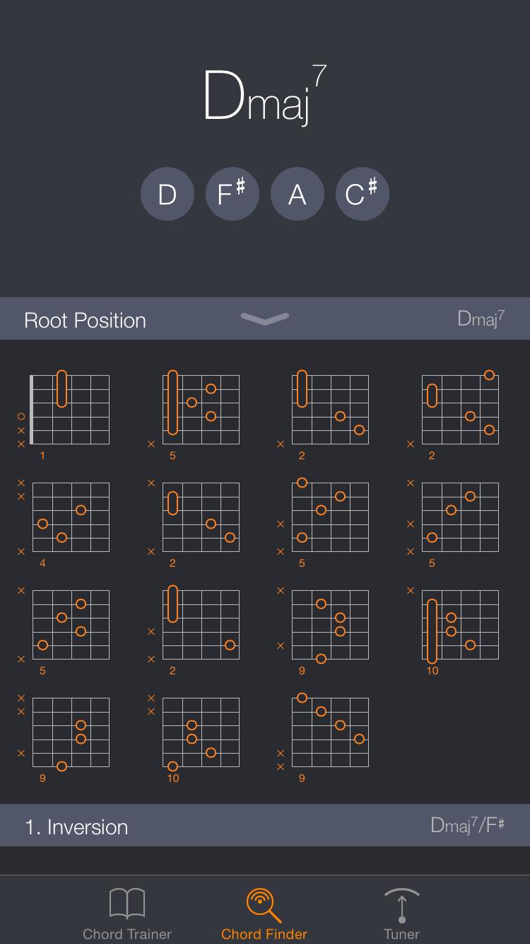 Uberchord ausprobiert: Besser spielen statt Highscore jagen - Die App bietet eine umfangreiche Bibliothek an Gitarrenakkorden mit Griffbildern, ... (Bild: Uberchord)
