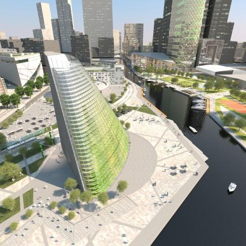 Der Wolkenkratzer der Zukunft: Er bietet nicht nur Platz zum Wohnen und Arbeiten, sondern auch zum Anbau von Gemüse. (Bild: Plantagon/Sweco)