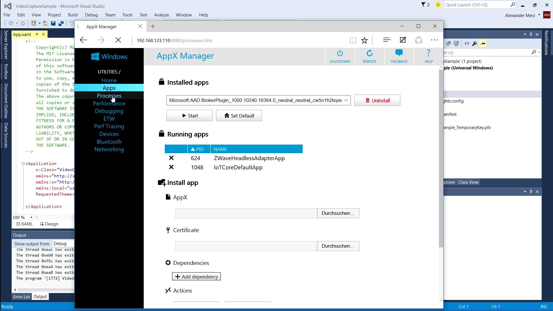 Windows 10 IoT ausprobiert: Finales Windows auf dem Raspberry Pi 2 - Das Web-Interface erlaubt recht gute Einblicke in das System, ... (Screenshot: Alexander Merz/Golem.de)