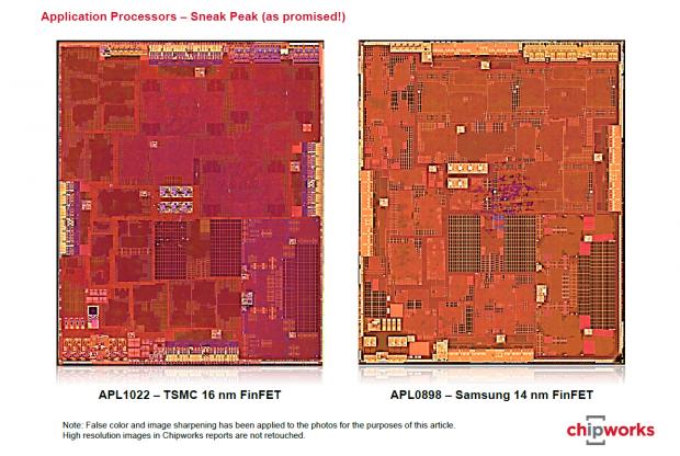 Vergleich der beiden A9-Versionen (Bild: Chipworks)
