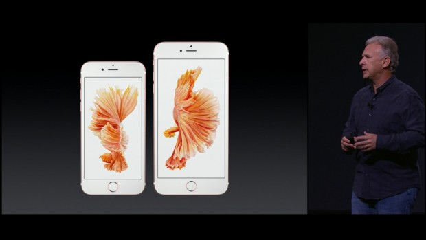 Links das iPhone 6S, rechts das iPhone 6S Plus (Bild: Apple/Screenshot: Golem.de)