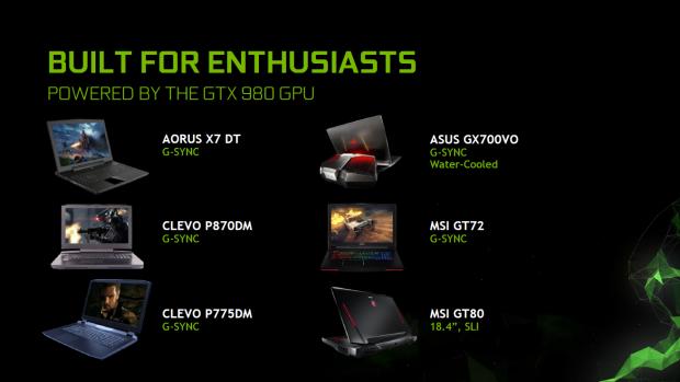 Bisher angekündigte Notebooks mit Geforce GTX 980 (Bild: Nvidia)